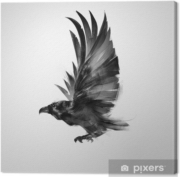 Quadro su Tela Isolato uccello che vola graficamente corvo nero - Animali