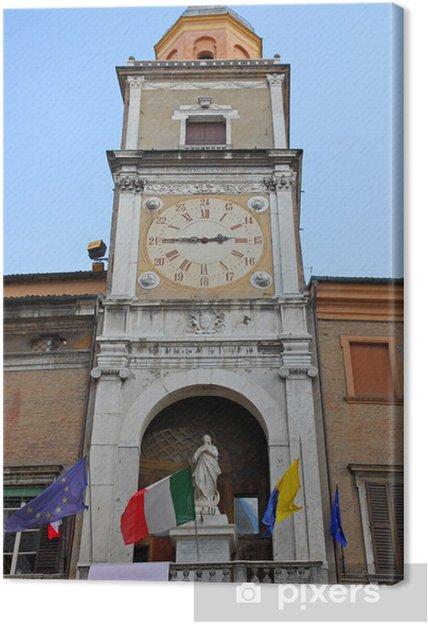 Quadro su Tela Italia, Modena Piazza Grande orologio nel palazzo municipio. - Europa