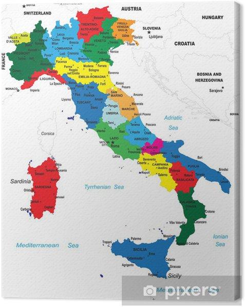 Quadro su Tela La mappa politica d'Italia - Temi