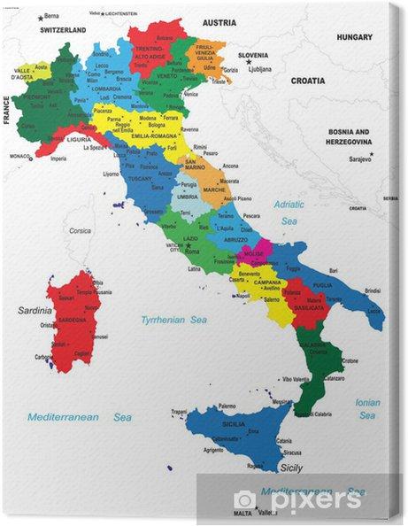 Cartina Politica Dell Italia.Quadro Su Tela La Mappa Politica D Italia