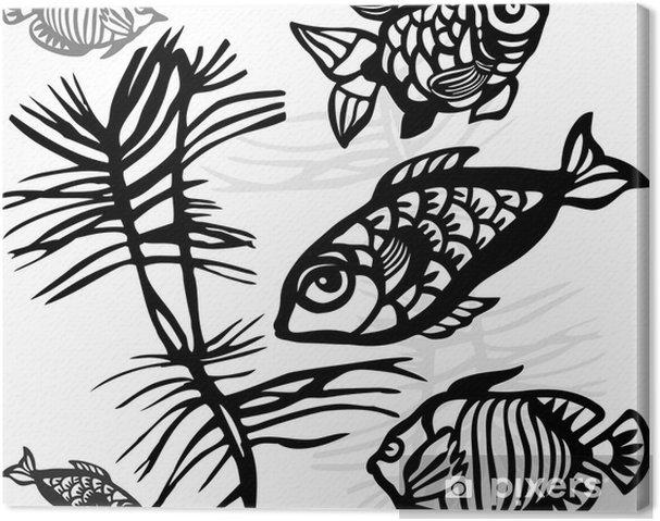 Sagome Stilizzate Di Persone.Quadro Su Tela Le Sagome Stilizzate Di Pesci Di Mare E Alghe