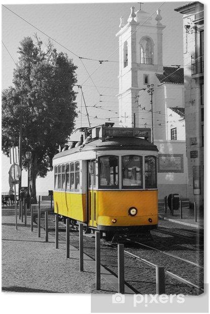 Quadro su Tela Lisbona vecchio tram giallo su sfondo bianco e nero -
