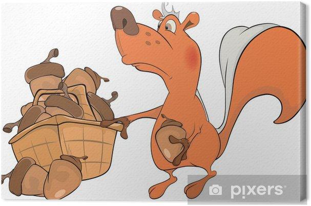 Quadro su tela lo scoiattolo e le ghiande. cartone animato u2022 pixers