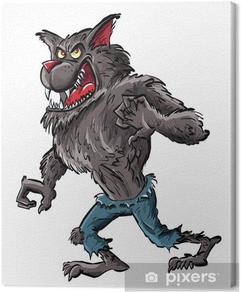 Quadro su tela lupo mannaro dei cartoni animati con artigli e denti