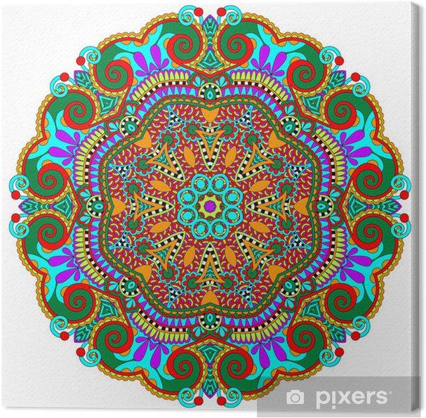 Quadro su Tela Mandala, cerchio decorativo simbolo spirituale indiano di loto - Adesivo da parete