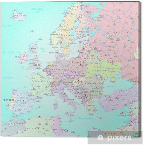 Quadro su Tela Mappa amministrativa d'Europa - Asia