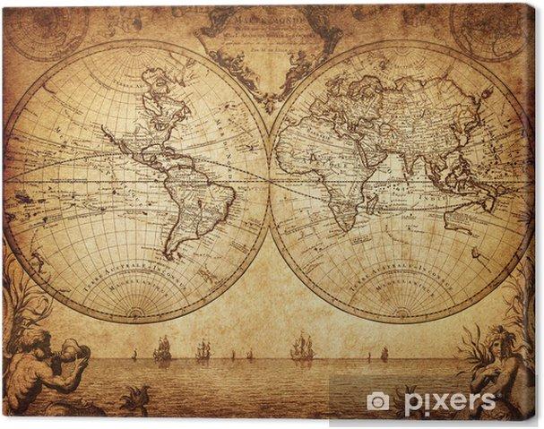 Quadro su Tela Mappa d'epoca del mondo 1733 - Temi