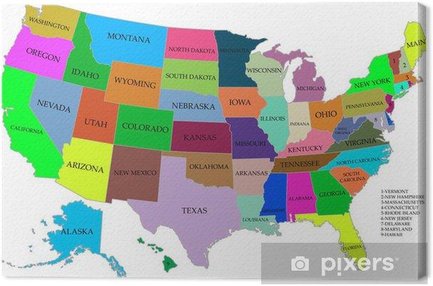 Cartina Stati Uniti D America Con Stati.Quadro Su Tela Mappa Degli Stati Uniti D America Con Gli Stati