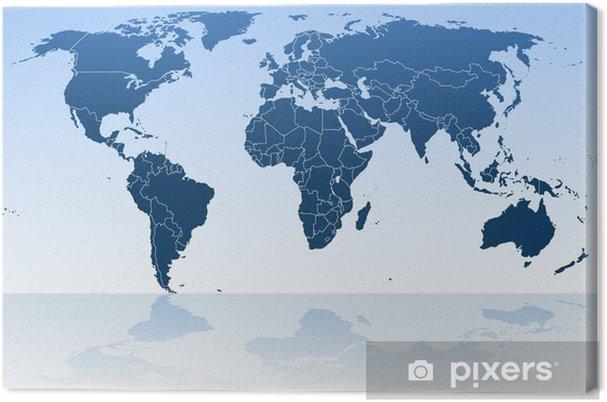 7fb89711c6 Quadro su Tela Mappa del mondo blu e continenti • Pixers® - Viviamo ...