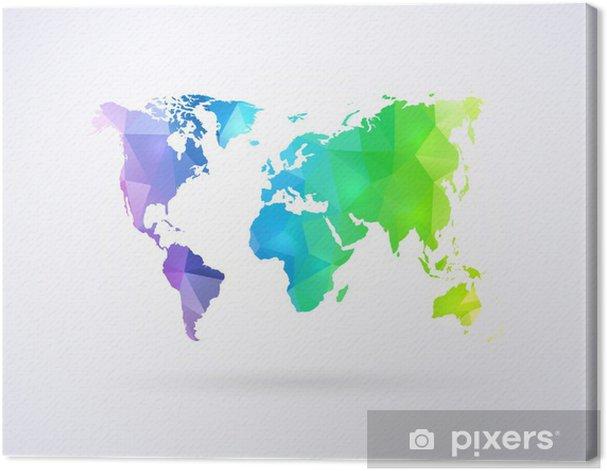 Quadro su Tela Mappa del mondo di colori dell'arcobaleno - Stili