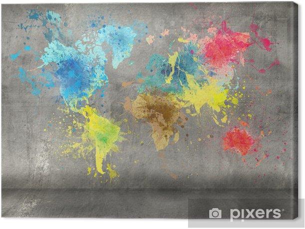 Quadro su Tela Mappa del mondo fatta di spruzzi di vernice su sfondo muro di cemento - iStaging