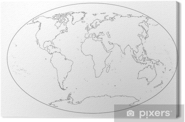 Cartina Mondo In Bianco E Nero.Quadro Su Tela Mappa Del Mondo In Bianco E Nero Vuota Pixers Viviamo Per Il Cambiamento