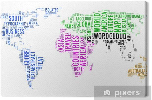 Quadro su Tela Mappa del mondo nube di testo - Vacanze