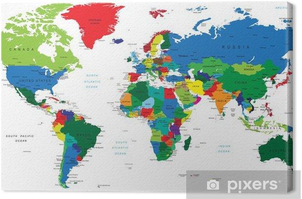 Quadro su Tela Mappa del mondo-paesi - Temi