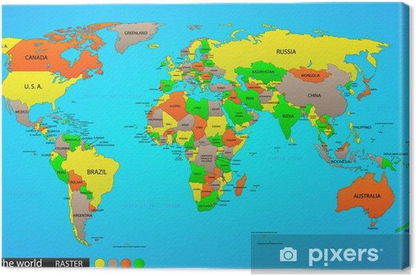 Cartina Del Mondo Politico.Quadro Su Tela Mappa Del Mondo Politico