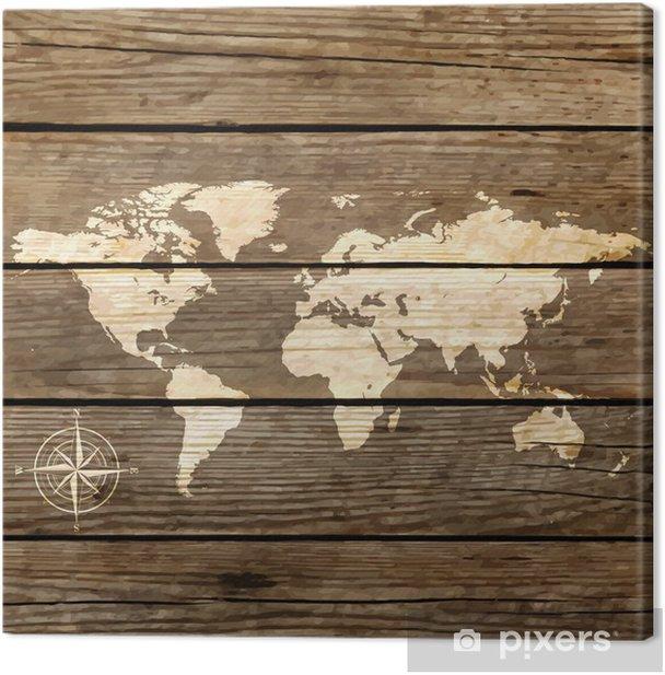Quadro su Tela Mappa del mondo su una tavola di legno vettore - Temi