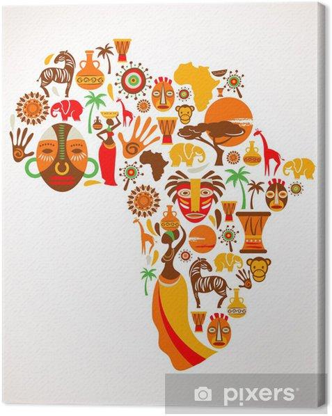Quadro su Tela Mappa di Africa con icone vettoriali - Natura