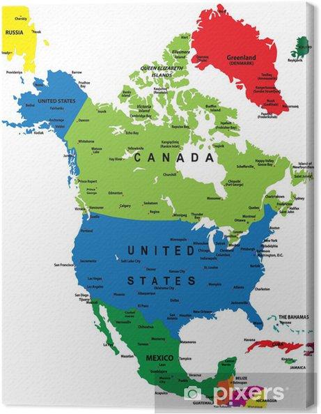 Cartina Politica America Settentrionale.Quadro Su Tela Mappa Politica Del Nord America