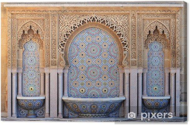 Quadro su tela marocco. fontana decorata con piastrelle a mosaico a