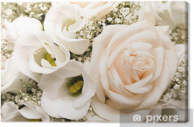 Mazzo Di Fiori Nozze.Quadro Su Tela Matrimonio Mazzo Di Fiori Rose Bianche Pixers