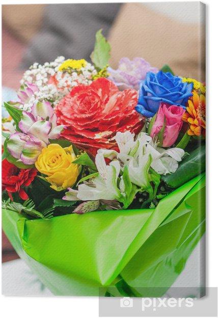 Mazzo Di Fiori Tanti Auguri.Quadro Su Tela Mazzo Di Fiori Bouquet Auguri Pixers Viviamo