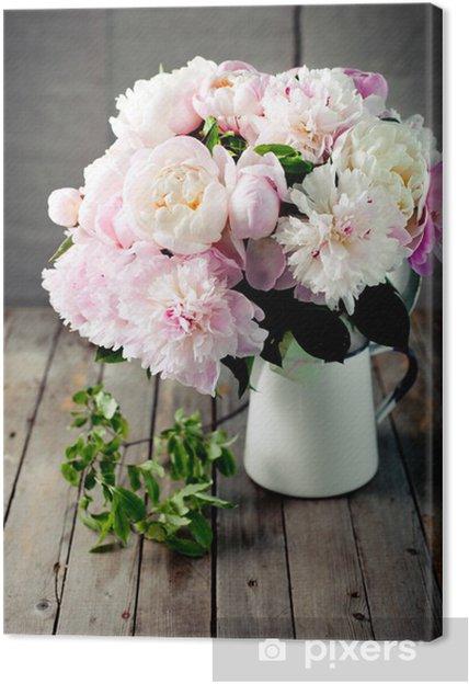 Quadro su Tela Mazzo di fiori di peonia in un vaso di smalto ...