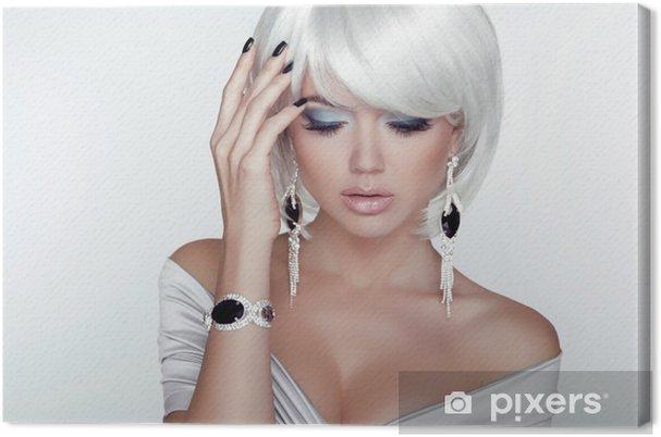 Quadro su Tela Moda Bellezza ragazza. Donna ritratto con White Capelli  corti. Gioiello 3ea71ad2963b