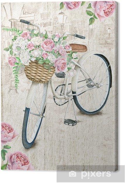 Quadro Su Tela Modello Di Cartolina Con Bicicletta Bianca E Cesto Di Rose Su Sfondo Con Texture Formato Da 425 X 625 Pollici Con Area Al Vivo