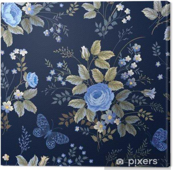 Quadro Su Tela Modello Floreale Senza Saldatura Con Rose Blu Su