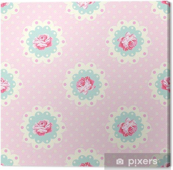 Quadro Su Tela Modello Rosa Vintage Sfondo Vettoriale Stile Shabby