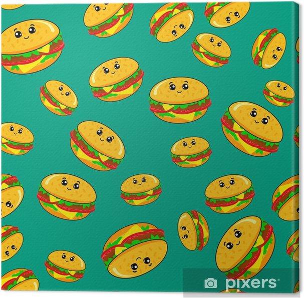 a9fe1dbd74 Quadro su Tela Modello senza cuciture astratto per ragazze o ragazzi.  sfondo vettoriale creativo con un hamburger, hamburger occhi carini.  modello ...