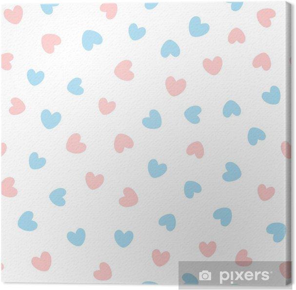 Quadro Su Tela Modello Senza Saldatura Carino Con Cuori Blu E Rosa