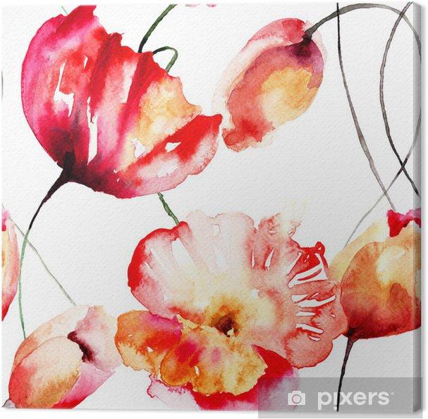 Quadro su Tela Modello senza saldatura con tulipani e fiori di ...