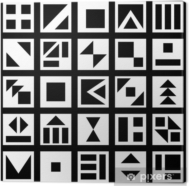Quadro su Tela Moderni in bianco e nero le piazze geometriche ...