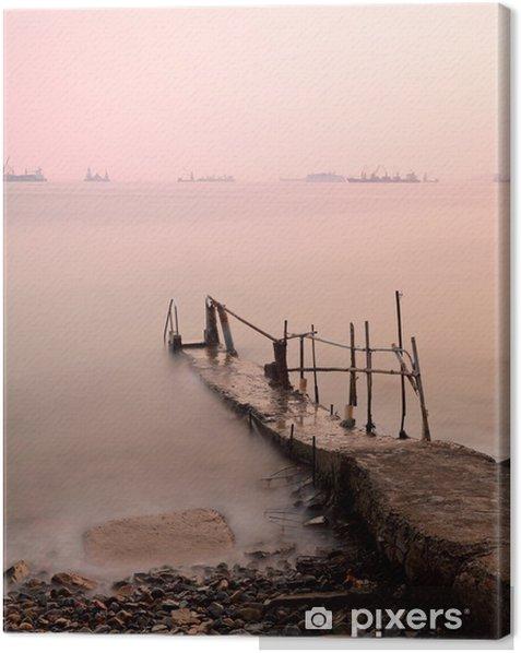 Quadro su Tela Molo al tramonto - Acqua