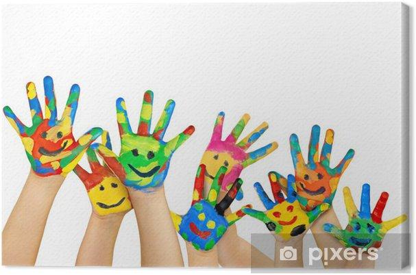 d52c718fd4 Quadro su Tela Molti bambini dipinte mani colorate