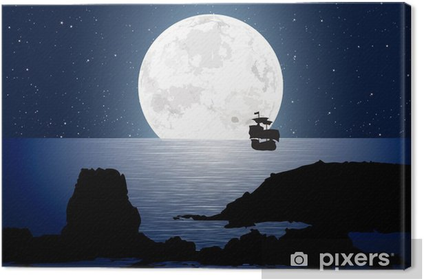 Quadro su Tela Moonlight con barca a vela - Cielo