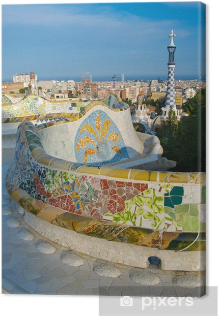 Quadro Su Tela Mosaico Panchina Famosa In Parco Guell A Barcellona