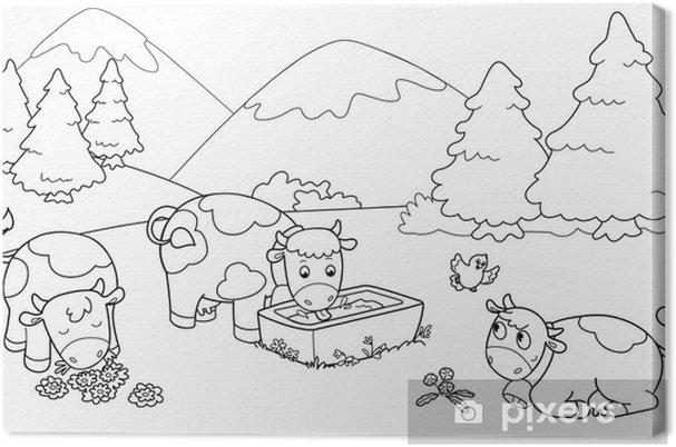 Quadro Su Tela Mucche In Montagna Illustrazioni Da Colorare Per