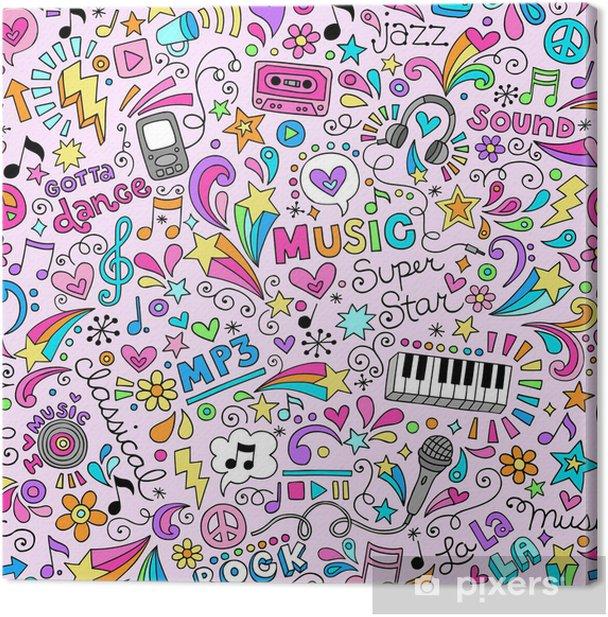 Quadro su Tela Musica Seamless Pattern Vector Doodles design - Temi