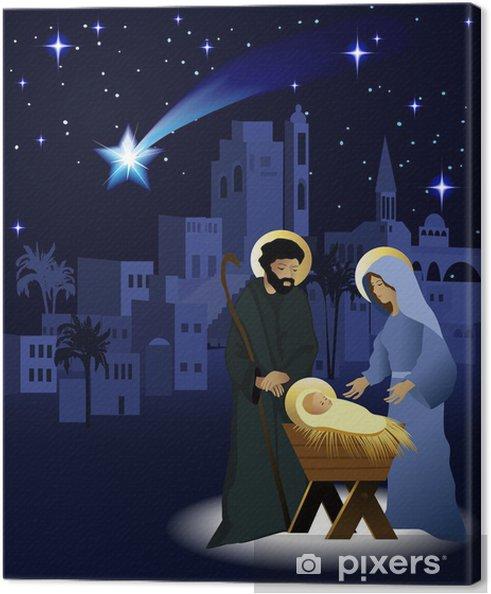 Immagini Natale Presepe.Quadro Su Tela Natale Presepe Con La Sacra Famiglia