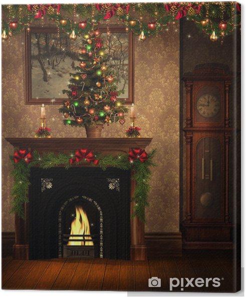 Decorazioni Natalizie Sul Camino.Quadro Su Tela Natale Sala Con Camino E Decorazioni