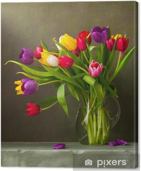 Quadro su Tela Natura morta con tulipani colorati • Pixers ...