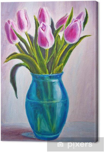 Quadro su Tela Natura morta con tulipani, pittura ad olio su tela ...