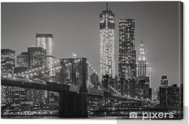 Quadro su Tela New York by night. Ponte di Brooklyn, Lower Manhattan - un nero -