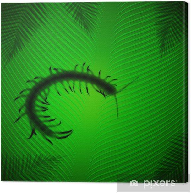 Quadro su Tela Ombra Centipede su foglia di banana sotto il sole tropicale - Animali immaginari