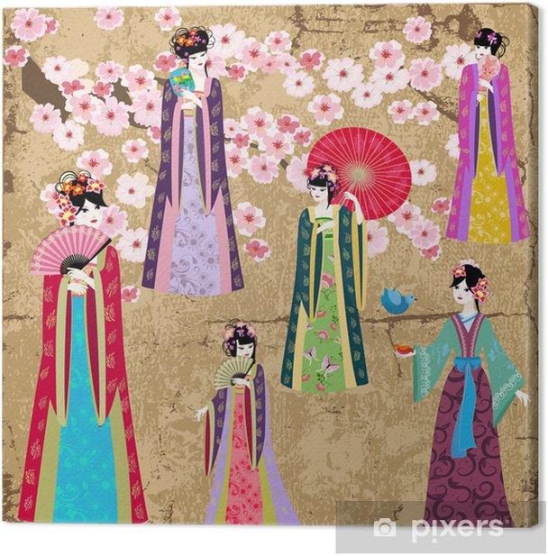 Quadro su Tela Oriental girl in retro costume - Stili