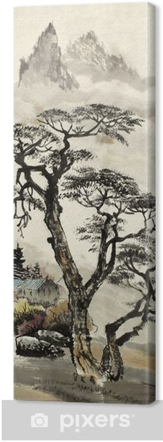 Quadro su Tela Paesaggio cinese con un albero - Hobby e Tempo Libero