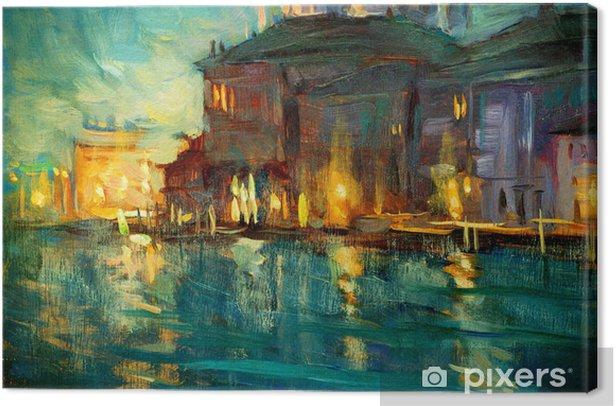 Quadro su Tela Paesaggio notturno a Venezia, dipinto di olio su compensato, illustrat - Natura
