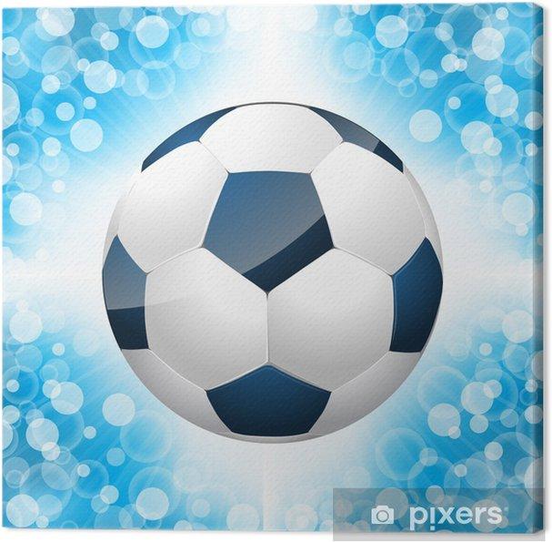 Quadro Su Tela Pallone Da Calcio Manifesto Con Sfondo Blu Pixers